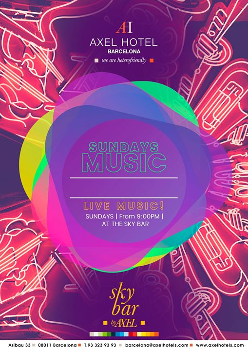 巴塞罗那Sundays Music2019年 9月21日,21:00(男同性恋, 女同性恋, 异性恋友好 下班后的活动)