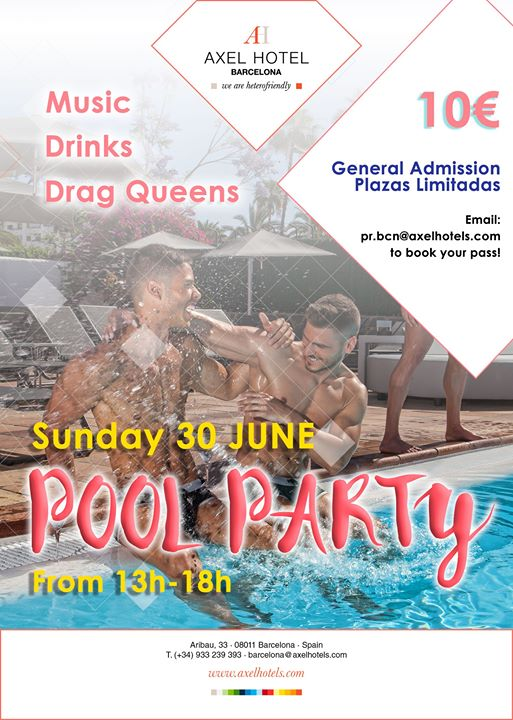 Special Pool Party! à Barcelone le dim. 30 juin 2019 de 13h00 à 18h00 (Clubbing Gay, Lesbienne, Hétéro Friendly)