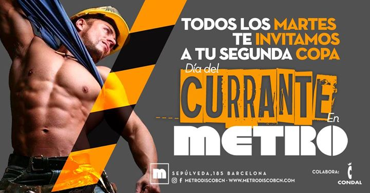 Martes día del Currante en Metro en Barcelona le mar 28 de mayo de 2019 23:59-06:00 (Clubbing Gay)