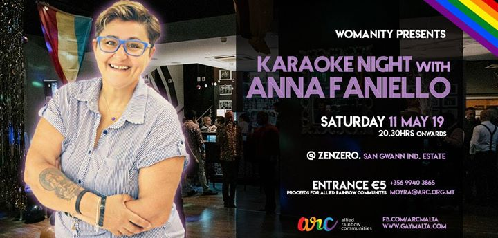 Womanity Presents Karaoke with Anna Faniello à San Ġwann le sam. 11 mai 2019 de 20h30 à 02h30 (Clubbing Gay, Lesbienne, Trans, Bi)