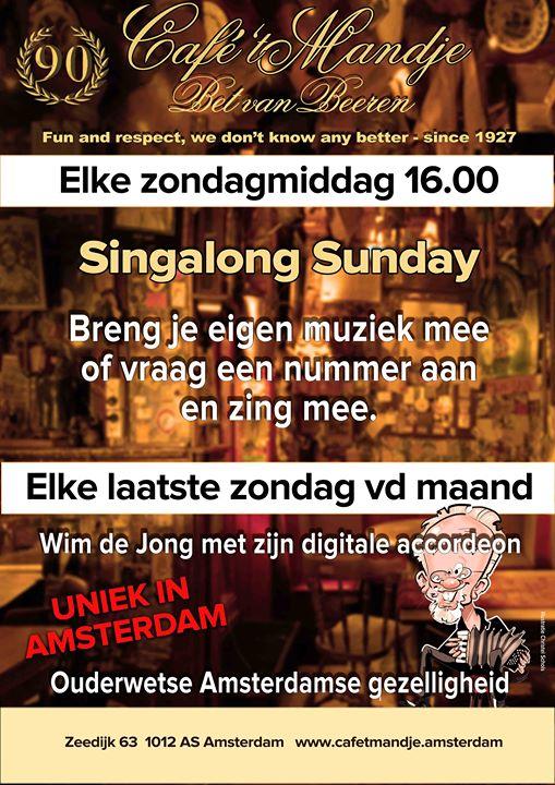 Singalong Sunday - elke Sunday à Amsterdam le dim. 28 juillet 2019 de 16h00 à 19h00 (After-Work Gay, Lesbienne)