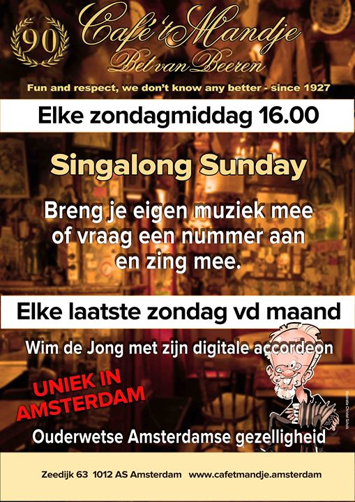 Singalong Sunday - elke Sunday en Amsterdam le dom 22 de septiembre de 2019 16:00-19:00 (After-Work Gay, Lesbiana)