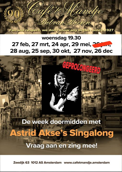 Astrid Akse's Singgalong in Amsterdam le Wed, November 27, 2019 from 07:30 pm to 01:00 am (After-Work Gay, Lesbian)