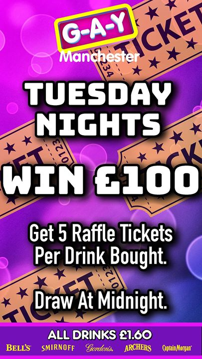 Tuesdays At G-A-Y Manchester, Win £100 em Manchester le ter, 20 agosto 2019 12:00-04:00 (Clubbing Gay)