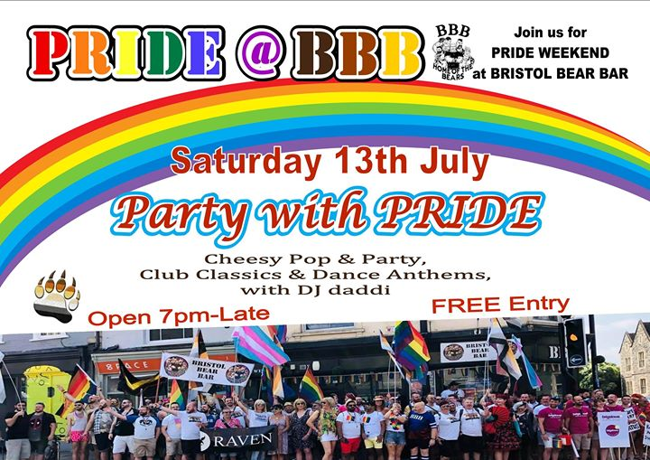 Party with Pride en Bristol le sáb 13 de julio de 2019 19:00-04:00 (Clubbing Gay, Oso)