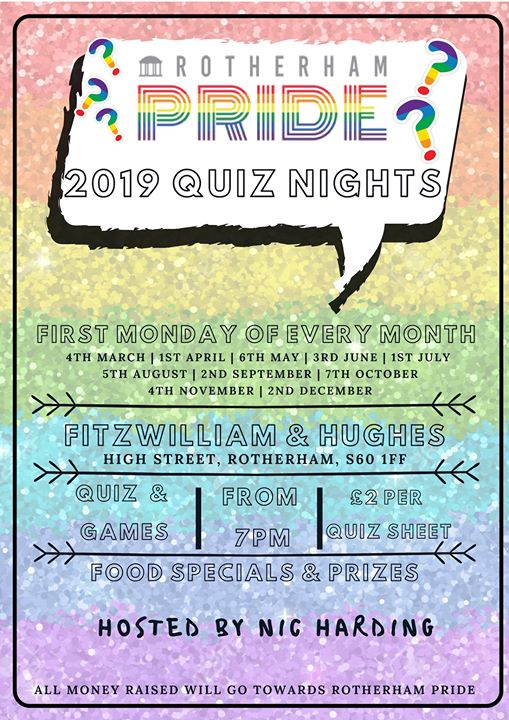 Quiz Night- Rotherham Pride em Rotherham le seg,  4 novembro 2019 19:00-21:00 (After-Work Gay, Lesbica, Trans, Bi)
