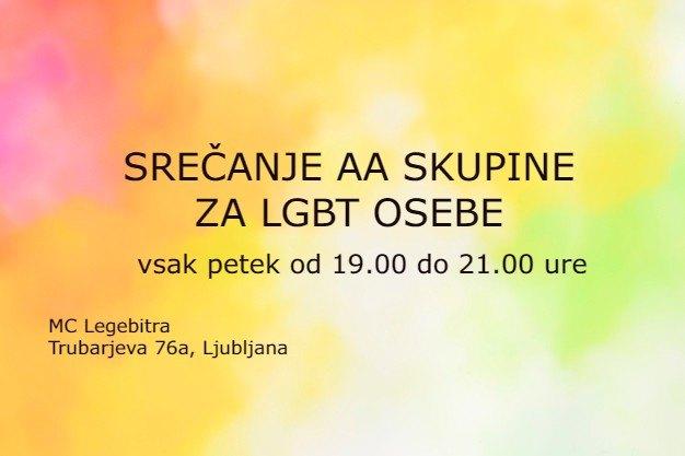 Srečanje AA skupine za LGBT osebe a Lubiana le ven 20 dicembre 2019 19:00-21:00 (After-work Gay, Lesbica, Trans, Bi)