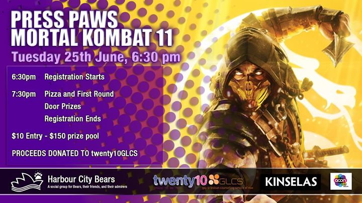 Press Paws - Mortal Kombat 11 in Sydney le Tue, June 25, 2019 from 06:30 pm to 10:00 pm (After-Work Gay, Bear, Bi)
