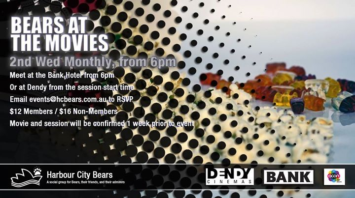 Bears at the Movies in Sydney le Wed, June 12, 2019 from 06:00 pm to 10:00 pm (Cinema Gay, Bear, Bi)
