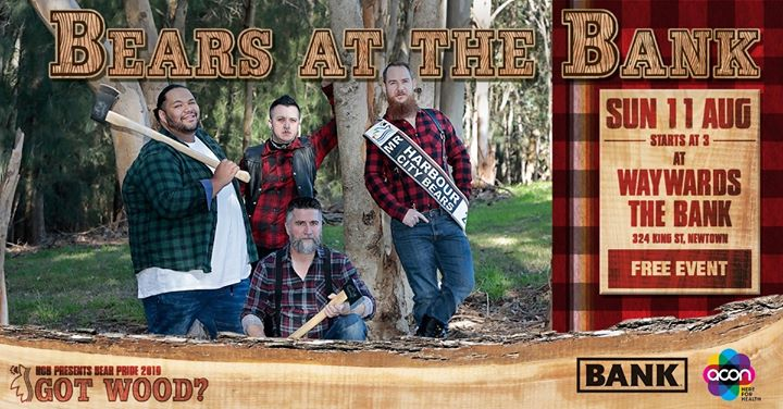 Bear Pride - Big Bears at the Bank à Sydney le dim. 11 août 2019 de 15h00 à 21h00 (After-Work Gay, Bear, Bi)