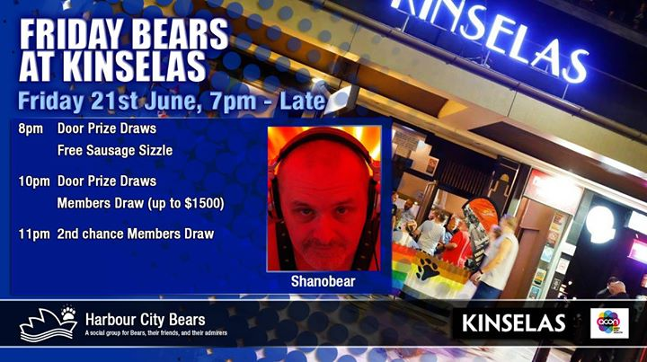 Friday Bears feat Shanobear à Sydney le ven. 21 juin 2019 de 19h00 à 00h00 (After-Work Gay, Bear, Bi)
