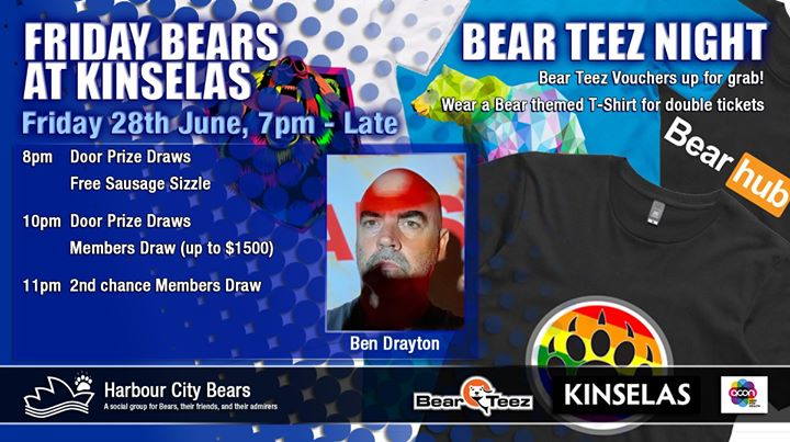 Friday Bears feat Ben Drayton - Bear Teez Night em Sydney le sex, 28 junho 2019 19:00-00:00 (After-Work Gay, Bear, Bi)