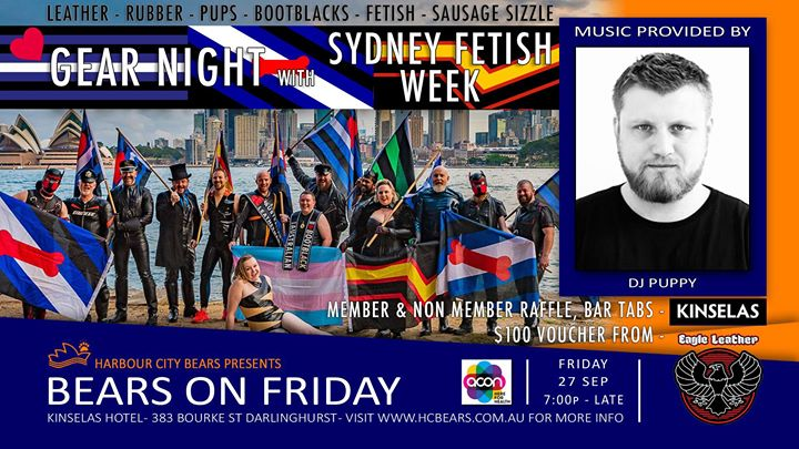 Friday Bears GEAR Night - Sydney Fetish Week à Sydney le ven. 27 septembre 2019 de 19h00 à 00h00 (After-Work Gay, Bear, Bi)