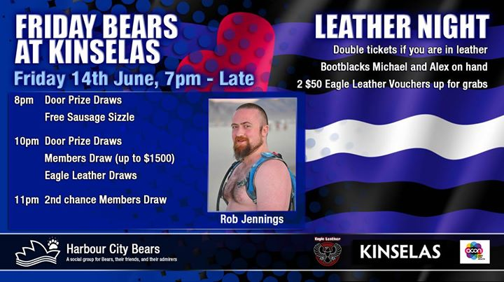 Friday Bears feat. Rob Jennings, Leather Night à Sydney le ven. 14 juin 2019 de 19h00 à 00h00 (After-Work Gay, Bear, Bi)