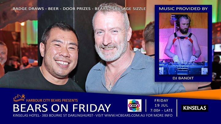 Friday Bears feat DJ Bandit in Sydney le Fri, July 19, 2019 from 07:00 pm to 12:00 am (After-Work Gay, Bear, Bi)