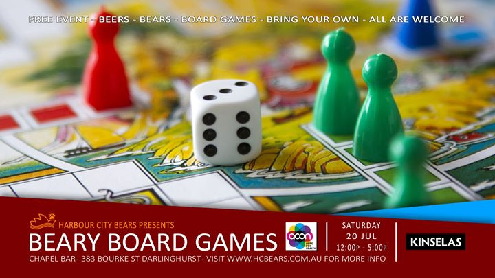 Beary Board Games in Sydney le Sat, July 20, 2019 from 12:00 pm to 05:00 pm (After-Work Gay, Bear, Bi)