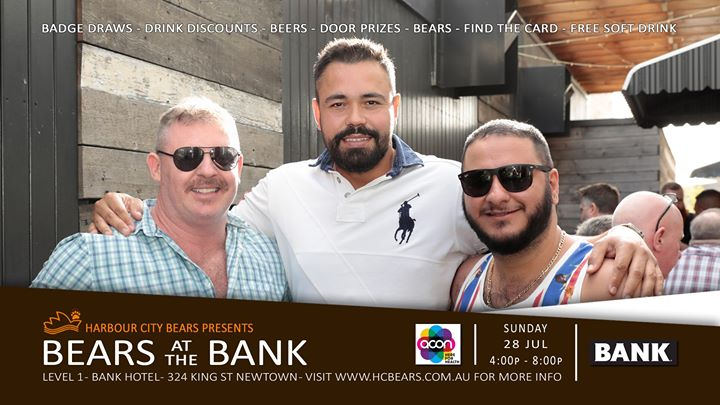 Bears at the Bank & Members badge draw à Sydney le dim. 28 juillet 2019 de 16h00 à 20h00 (After-Work Gay, Bear, Bi)
