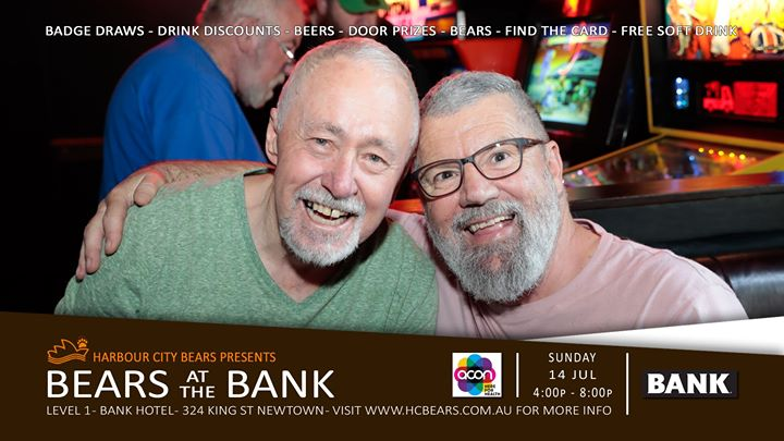 Bears at the Bank & $300 Members badge draw in Sydney le Sun, July 14, 2019 from 04:00 pm to 08:00 pm (After-Work Gay, Bear, Bi)