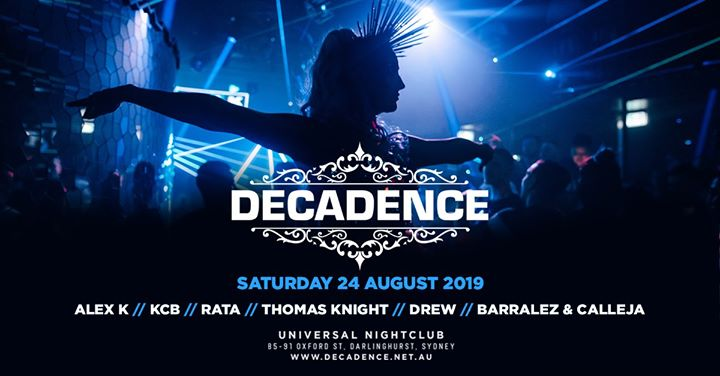 Decadence in Sydney le Sat, August 24, 2019 from 09:00 pm to 03:30 am (Clubbing Gay)