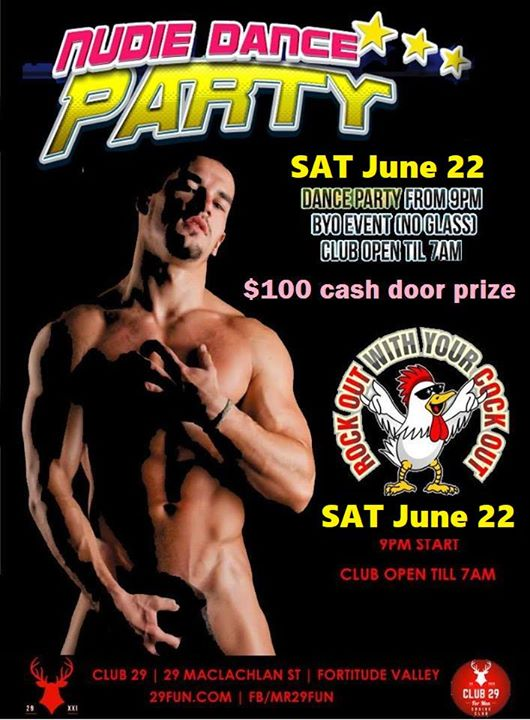 NUDIE 2019 - June 22 $100 lucky door prize in Brisbane le Sat, June 22, 2019 from 09:00 pm to 07:00 am (Sex Gay)