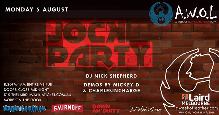 AWOL - Jock Party in Melbourne le Mon, August  5, 2019 from 08:30 pm to 01:00 am (After-Work Gay)