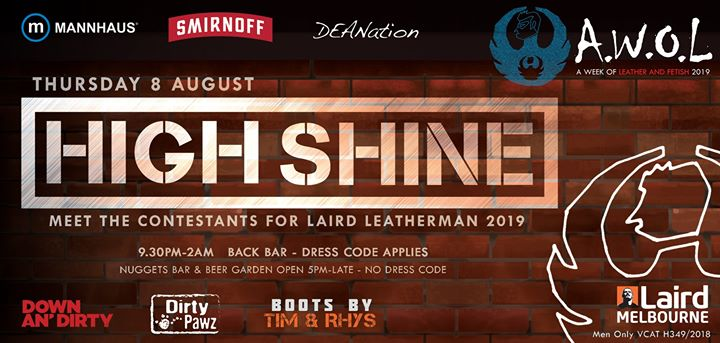 AWOL - High Shine à Melbourne le jeu.  8 août 2019 de 21h30 à 02h00 (After-Work Gay)