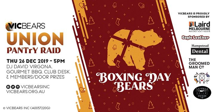 VicBears UNION - Boxing Day Bears! à Melbourne le jeu. 26 décembre 2019 de 17h00 à 23h00 (After-Work Gay)