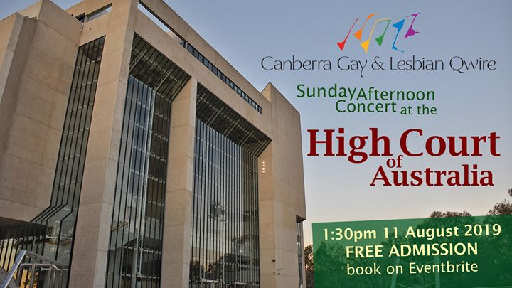 Qwire at the High Court in Canberra le Sun, August 11, 2019 from 01:30 pm to 02:30 pm (Meetings / Discussions Gay, Lesbian, Trans, Bi)