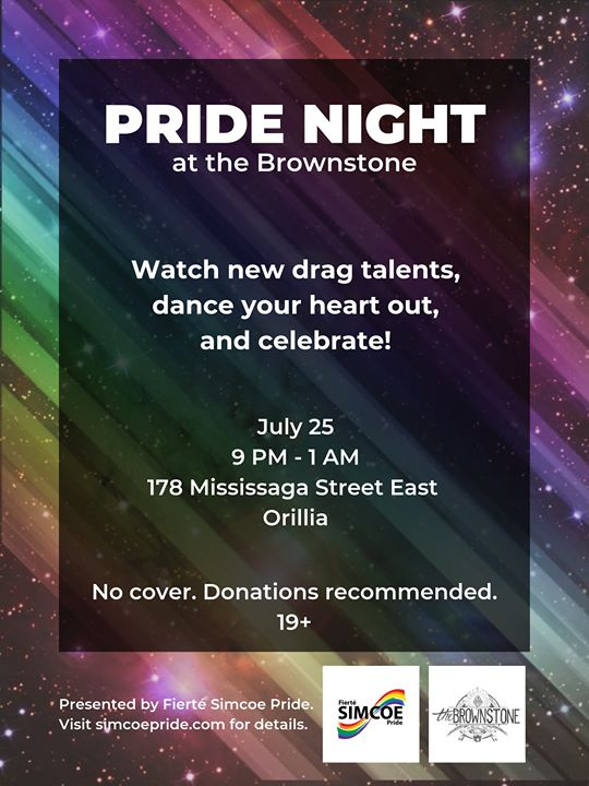 Pride Night at the Brownstone in Orillia le Thu, July 25, 2019 from 09:00 pm to 01:00 am (Clubbing Gay, Lesbian)