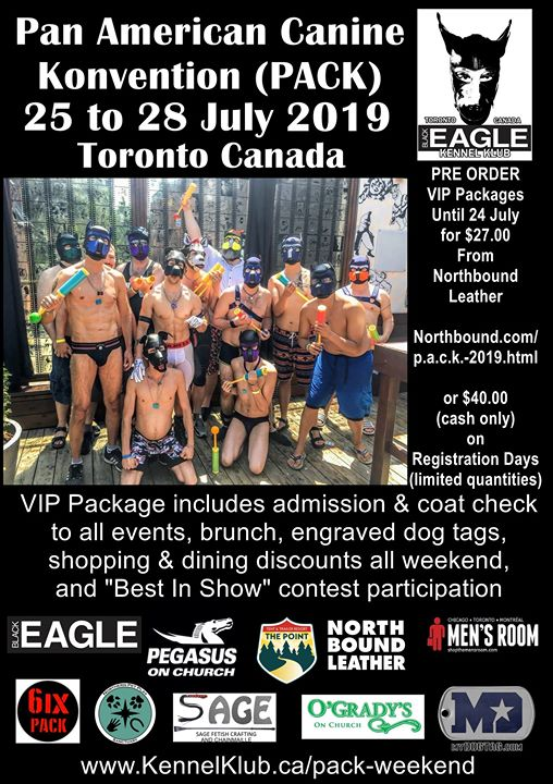 PACK Weekend (Public Invite) a Toronto dal 25-28 luglio 2019 (Festival Gay)