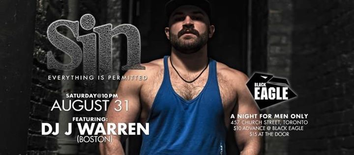 SIN feat DJ J Warren (Boston) in Toronto le Sa 31. August, 2019 22.00 bis 03.00 (Clubbing Gay)