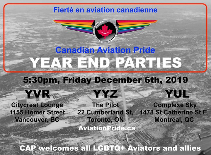 CAP - YUL: Year End Party/ Fête de fin d'année! in Montreal le Fri, December  6, 2019 from 05:30 pm to 07:30 pm (After-Work Gay)