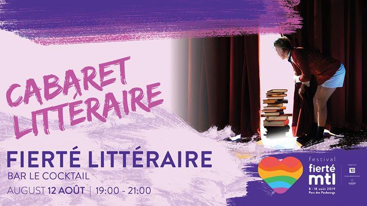 Festival Fierté Montréal - Fierté littéraire: Cabaret littéraire a Montreal le lun 12 agosto 2019 19:00-21:00 (Laboratorio Gay, Lesbica)