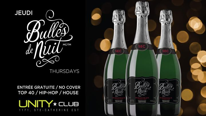 UNITY ★ Jeudi bulles de nuit in Montreal le Thu, November 21, 2019 from 10:00 pm to 03:00 am (After-Work Gay)