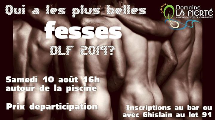Qui a les plus belles fesses DLF 2019? in Sainte-Julienne le Sat, August 10, 2019 at 04:00 pm (Clubbing Gay, Bear)