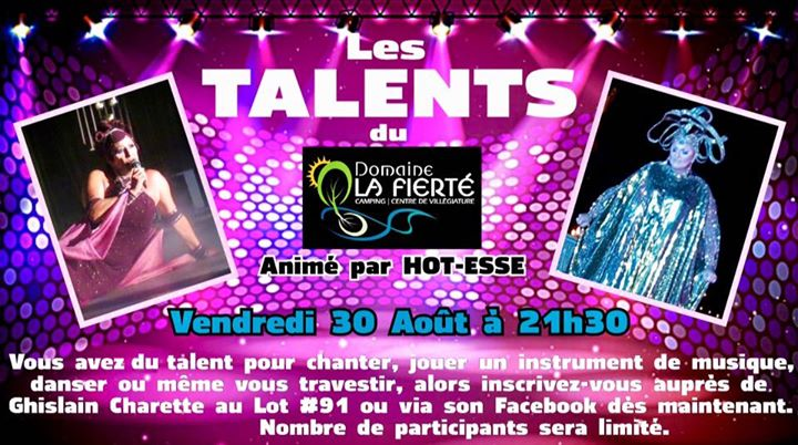 Les Talents du Domaine La Fierté! in Sainte-Julienne le Fri, August 30, 2019 at 09:30 pm (After-Work Gay, Bear)