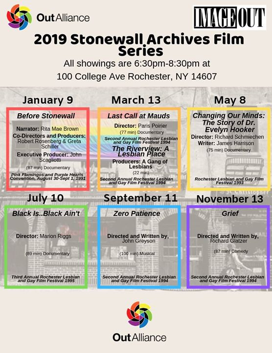 Rochester2019 Stonewall Archives Film Series2019年 6月11日,18:30(男同性恋, 女同性恋, 变性, 双性恋 电影)