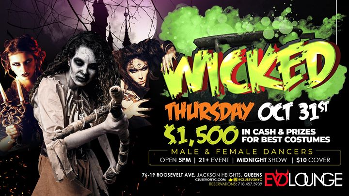 Wicked at GIA (Halloween Night) 1,500 in Cash & Prizes à New York le jeu. 31 octobre 2019 de 17h00 à 04h00 (Clubbing Gay)