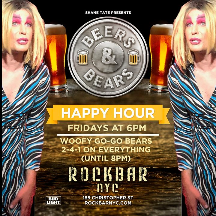 BEERS & BEARS 2-4-1 Friday Happy Hour feat. Busted Queen! in New York le Fri, January 10, 2020 from 06:00 pm to 10:30 pm (After-Work Gay, Bear)