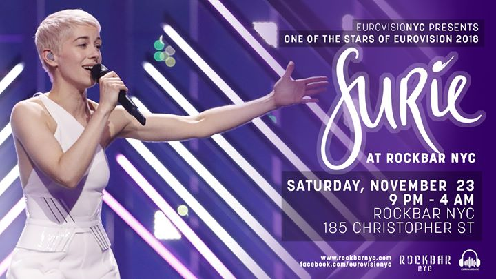 EurovisioNYC Presents: SuRie at Rockbar NYC! a New York le sab 23 novembre 2019 21:00-04:00 (Clubbing Gay, Orso)