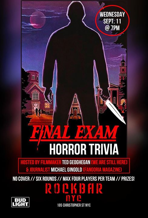 Final Exam Horror Trivia at Rockbar NYC in New York le Mi 11. September, 2019 19.00 bis 21.00 (After-Work Gay, Bear)