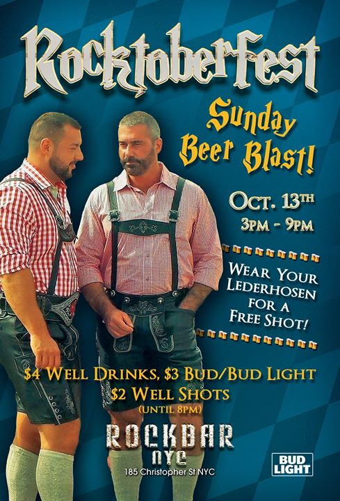 ROCKtoberfest Sunday Beer Blast! in New York le Sun, October 13, 2019 from 03:00 pm to 09:00 pm (After-Work Gay, Bear)