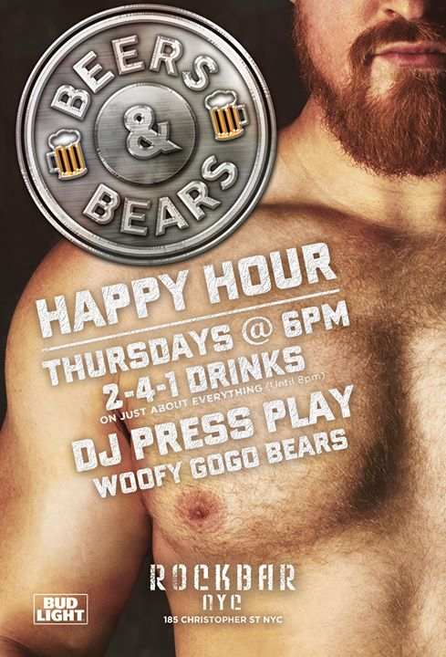 BEERS & BEARS 2-4-1 Thursday Happy Hour a New York le ven 13 marzo 2020 18:00-22:30 (After-work Gay, Orso)