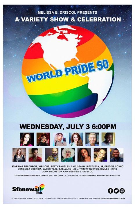 PRIDE 50 Variety Show Celebration a New York le mer  3 luglio 2019 18:00-21:30 (Spettacolo Gay)
