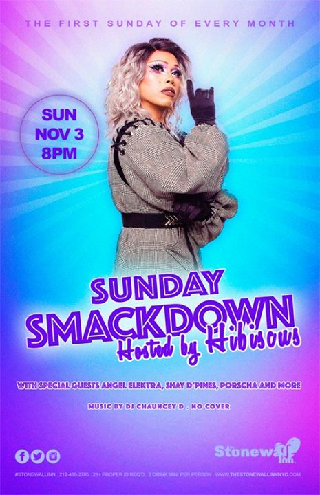 Sunday Smackdown with Hibiscus à New York le dim.  3 novembre 2019 de 19h30 à 21h30 (After-Work Gay)