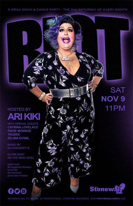 Riot! (Dance Party/Drag Show) - Nov 9 a New York le sab  9 novembre 2019 22:00-04:00 (Clubbing Gay)