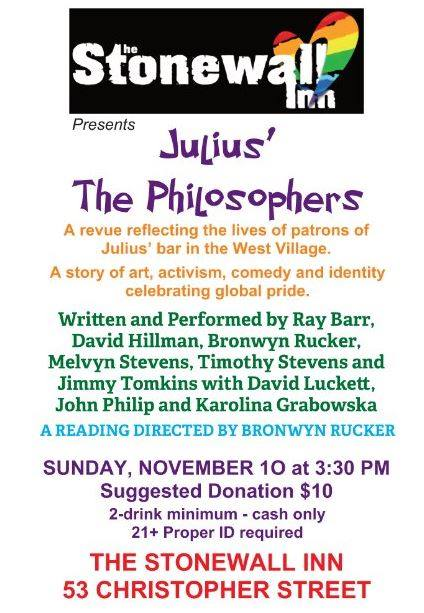 Julius' The Philosophers a New York le dom 10 novembre 2019 15:30-17:00 (After-work Gay)