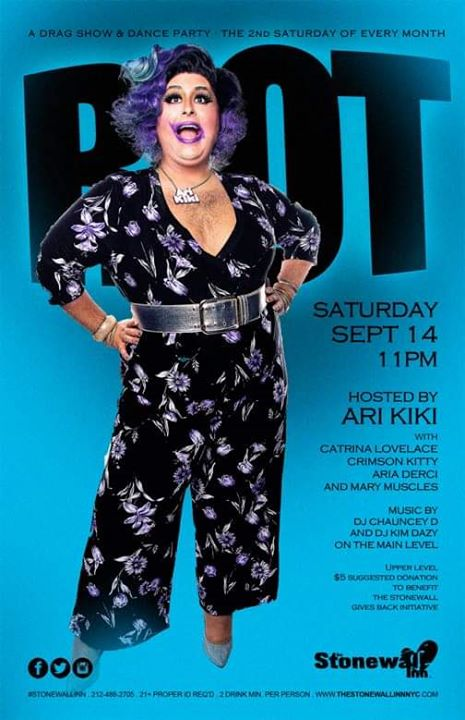 Riot! (Dance Party/Drag Show) - Sept 14 à New York le sam. 14 septembre 2019 de 22h00 à 04h00 (Spectacle Gay)