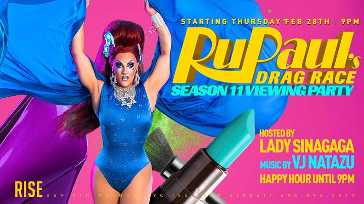 Rupauls Drag Race 11 viewing party at Rise à New York le jeu.  2 mai 2019 de 21h00 à 23h00 (After-Work Gay)