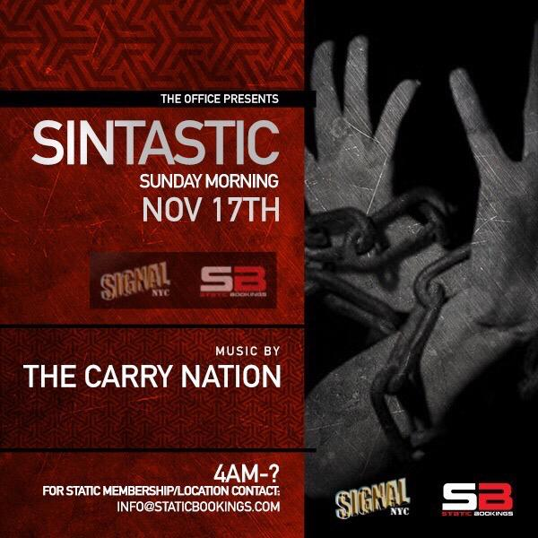 Static | Signal NYC: Sintastic Sunday Afters w/ The Carry Nation em Brooklyn le dom, 17 novembro 2019 04:00-12:00 (After Gay)